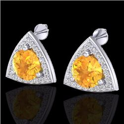 Natural 3 CTW Citrine & Micro Pave Halo Solitaire Diamond Stud Earrings 18K White Gold - 20185-REF#-