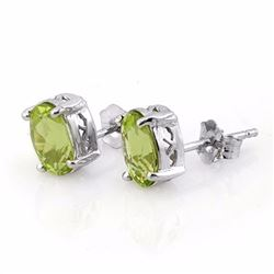 Genuine 2.0 ctw Peridot Solitaire Stud Earrings 18K White Gold - 10281-#19N3F
