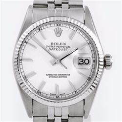 Pre-owned Excellent Condition Authentic Rolex Non-Quickset Men's Stainless Steel DateJust White Dial