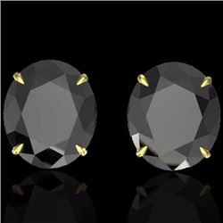 Natural 18 CTW Black Diamond Certified Designer Solitaire Stud Earrings 18K Yellow Gold - 21696-REF#