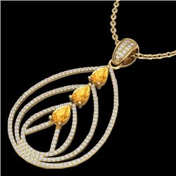 Natural 2 CTW Citrine & Micro Pave Diamond Certified Designer Necklace 18K Yellow Gold - 22466-REF#-