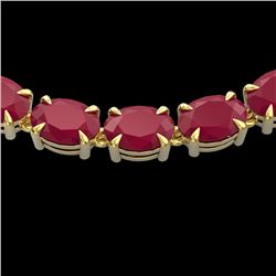 Natural 68 CTW Ruby Eternity Designer Inspired Tennis Necklace 14K Yellow Gold - 23408-REF#-215V3Y