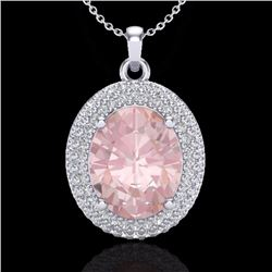 Natural 4.50 CTW Morganite & Micro Pave Diamond Certified Necklace 18K White Gold - 20568-REF#-116W8
