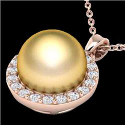 Natural .25 CTW Micro Pave Halo Diamond Certified & Golden Pearl Necklace 14K Rose Gold - 21562-REF#