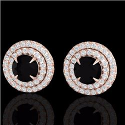 Natural 2 CTW Micro Pave Diamond Certified Stud Earrings Double Halo 14K Rose Gold - 21464-REF#-80X8
