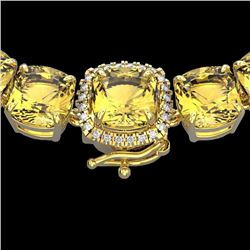 Natural 87 CTW Citrine & Diamond Halo Micro Pave Necklace 14K Yellow Gold - 23341-REF#-262T5K