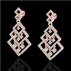 Natural 3 CTW Micro Pave Diamond Certified Earrings Dangling Designer 14K Rose Gold - 22489-REF#-161