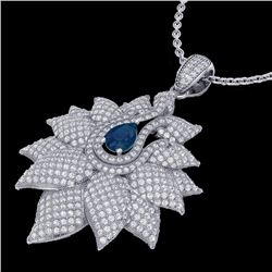 Natural 3 CTW Sapphire & Micro Pave Diamond Designer Necklace 18K White Gold - 22565-REF#-186H8M