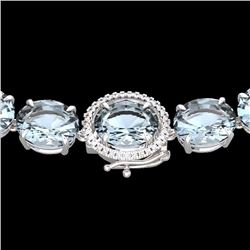 Natural 102 CTW Aquamarine & Diamond Halo Micro Eternity Necklace 14K White Gold - 22289-REF#-729R5H