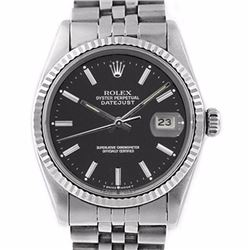 Pre-owned Excellent Condition Authentic Rolex Non-Quickset Men's Stainless Steel DateJust Black Dial