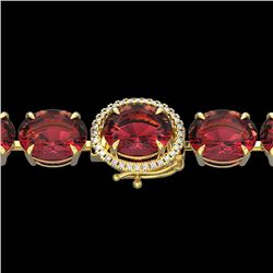 Natural 49 CTW Pink Tourmaline & Micro Diamond Halo Bracelet 14K Yellow Gold - 22274-REF#-345Y8Z