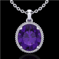 Natural 10 CTW Amethyst & Micro Pave Diamond Certified Halo Necklace 18K White Gold - 20601-REF#-79W
