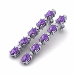 10.36 CTW AMETHYST & DIAMOND SI-I CERTIFIED TENNIS EARRINGS - 29385-#46G3N