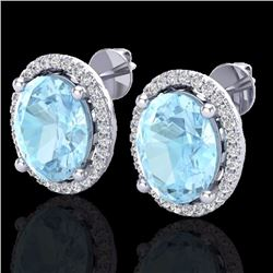Natural 5 CTW Aquamarine & Micro Pave Diamond Certified Earrings Halo 18K White Gold - 21045-REF#-75