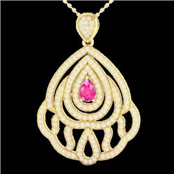 Natural 2 CTW PINK Sapphire & Micro Pave Diamond Designer Necklace IN 18K Yellow Gold - 21268-REF#-1