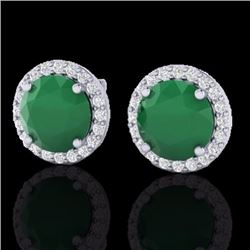 Natural 4 CTW Emerald & Halo Diamond Micro Pave Earrings Solitaire 18K White Gold - 21491-REF#-53R5H