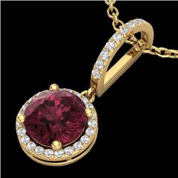 Natural 2.75 CTW Garnet & Micro Pave Diamond Necklace Designer Halo 18K Yellow Gold - 23199-REF#-33V