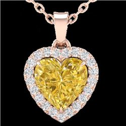 Natural 1 CTW Citrine & Micro Pave Diamond Heart Necklace Heart Halo IN 14K Rose Gold - 21335-REF#-1