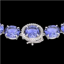 Natural 127 CTW Tanzanite & Diamond Halo Micro Eternity Necklace 14K White Gold - 22317-REF#-2100X2A