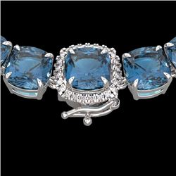 Natural 87 CTW London Blue Topaz & Diamond Halo Micro Necklace 14K White Gold - 23367-REF#-248A2X