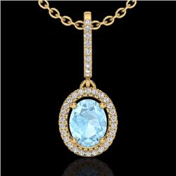 Natural 1.75 CTW Aquamarine & Micro Diamond Necklace Solitaire Halo 18K Yellow Gold - 20651-REF#-52V