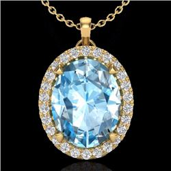 Natural 2.75 CTW Sky Blue Topaz & Micro Diamond Halo Solitaire Necklace 18K Yellow Gold - 20583-REF#