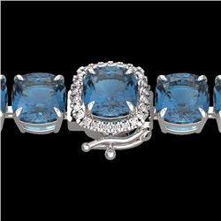 Natural 35 CTW London Blue Topaz & Micro Diamond Halo Bracelet 14K White Gold - 23330-REF#-130R2H