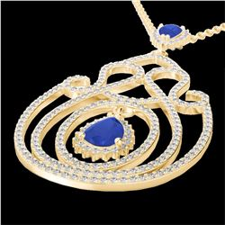 Natural 3.20 CTW Sapphire & Micro Pave Diamond Heart Designer Necklace 14K Yellow Gold - 22442-REF#-