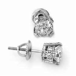 Genuine 1.0 ctw Diamond Solitaire Stud Earrings 14K White Gold - 10503-#86V5A