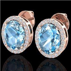 Natural 5.50 CTW Sky Blue Topaz & Micro Diamond Halo Earrings Ring 14K Rose Gold - 20242-REF#-55T5K