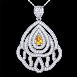 Natural 2 CTW Yellow Sapphire & Micro Diamond Designer Necklace IN 18K White Gold - 21277-REF#-123K5