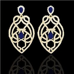 Natural 7 CTW Sapphire & Micro Diamond Heart Earrings Designer Solitaire 14K Yellow Gold - 21141-REF