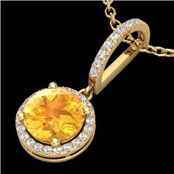 Natural 2 CTW Citrine & Micro Pave Diamond Necklace Designer Halo 18K Yellow Gold - 23194-REF#-32Z8R