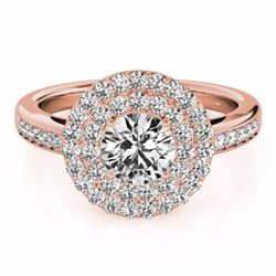0.85 CTW Certified SI-I Diamond Bridal Solitaire Halo Ring 18K Rose Gold - 26456-#83G4M