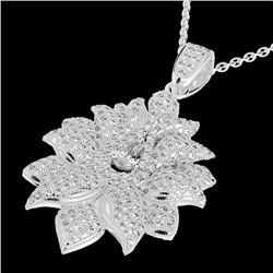 Natural 3 CTW Micro Pave Diamond Certified Designer Necklace 18K White Gold - 22558-REF#-336W4G