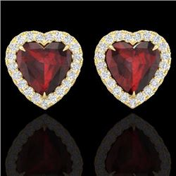 Natural 2.22 CTW Garnet & Micro Pave Diamond Earrings Heart Halo IN 14K Yellow Gold - 21206-REF#-29V