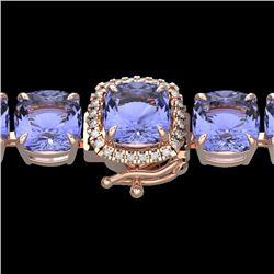 Natural 40 CTW Tanzanite & Micro Pave Diamond Halo Bracelet 14K Rose Gold - 23325-REF#-402W3G