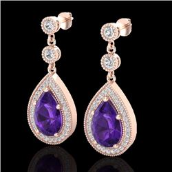 Natural 4.50 CTW Amethyst & Micro Pave Diamond Certified Earrings 14K Rose Gold - 23110-REF#-52A5X