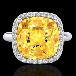 Natural 6 CTW Citrine & Micro Pave Halo Diamond Ring Solitaire 18K White Gold - 23094-REF#-51R2H