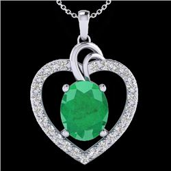 Natural 4 CTW Emerald & Diamond Designer Inspired Heart Necklace 14K White Gold - 20492-REF#-63A5X