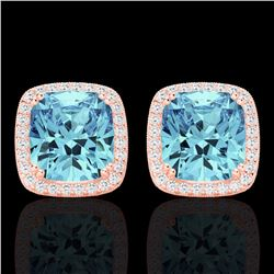 Natural 6.50 CTW Sky Blue Topaz & Micro Diamond Halo Solitaire Earrings 14K Rose Gold - 22813-REF#-5
