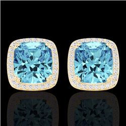 Natural 6.50 CTW Sky Blue Topaz & Micro Diamond Halo Solitaire Earrings 18K Yellow Gold - 22814-REF#
