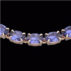 Natural 40 CTW Tanzanite Eternity Tennis Necklace 14K Rose Gold - 23382-REF#-227M3F