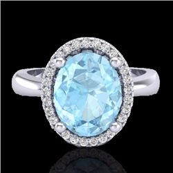 Natural 2.50 CTW Aquamarine & Micro Pave Diamond Certified Ring Halo 18K White Gold - 21095-REF#-47M