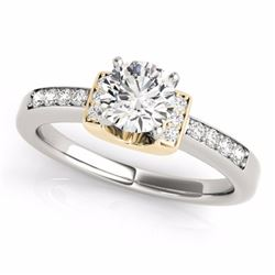 0.61 CTW Certified SI-I Diamond Solitaire Bridal  Ring 18K Two Tone Gold - 27439-#95M5G