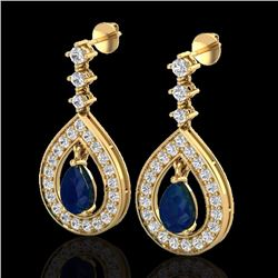 Natural 2.25 CTW Sapphire & Micro Pave Diamond Earrings Designer 14K Yellow Gold - 23156-REF#-91X5T