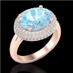 Natural 4 CTW Aquamarine & Micro Pave Diamond Certified Ring 14K Rose Gold - 20904-REF#-79V2Y