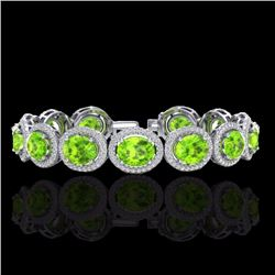 Natural 20 CTW Peridot & Micro Pave Diamond Certified Bracelet 10K White Gold - 22693-REF#-233H4M