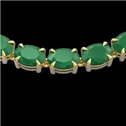 Natural 68 CTW Emerald Eternity Designer Inspired Tennis Necklace 14K Yellow Gold - 23402-REF#-215H3