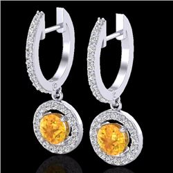 Natural 1.75 CTW Citrine & Micro Pave Halo Solitaire Diamond Earrings 18K White Gold - 23248-REF#-62